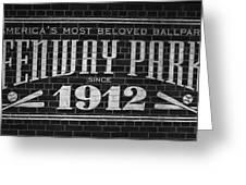 Fenway Park Boston Ma 1912 Sign Greeting Card