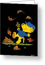 Ferald Dancing Amongst The Autumn Leaves Greeting Card