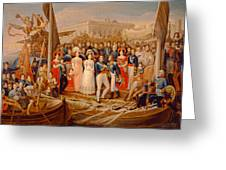 Ferdinand Vii Disembarking In The Port Of Santa Maria, 19th Century Oil On Canvas Greeting Card