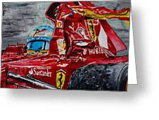 Fernando Alonso And Ferrari F10 Greeting Card