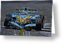 Fernando Alonso In Blue Greeting Card