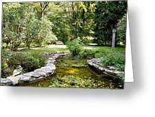 Fernwood Botanical Garden Frog Pond With Bench Niles Michigan Us Greeting Card
