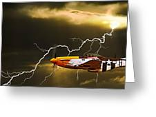 Ferocious Frankie In A Storm Greeting Card by Meirion Matthias