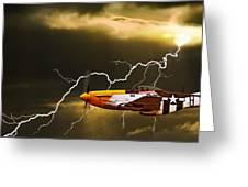 Ferocious Frankie In A Storm Greeting Card
