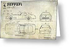 Ferrari 250 Gt Blueprint Antique Greeting Card