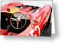 Ferrari Cockpit Monterey Watercolor Greeting Card