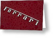 Ferrari Emblem In The Rain Greeting Card