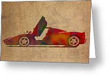 Ferrari Enzo 2004 Classic Car Watercolor On Worn Distressed Canvas Greeting Card