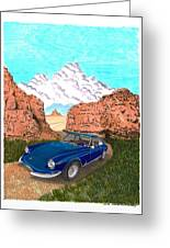 1969 Ferrari 365 G T C In The Mountains 1969 365 G T C Greeting Card