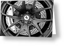 Ferrari Wheel Emblem - Brake Emblem -0430bw Greeting Card
