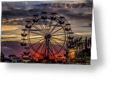 Ferris Wheel Sunset Greeting Card