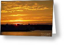 Ferry At Sunset Greeting Card