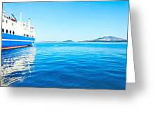 Ferry Boat On Port Greeting Card