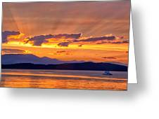 Ferry Crossing Sunset Greeting Card