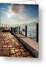 Ferry Leaves Long Wharf Greeting Card