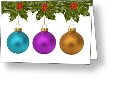 Festive Christmas Baubles Greeting Card