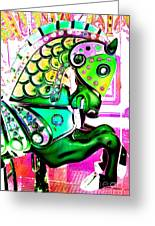 Festive Green Carnival Horse Greeting Card