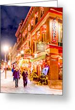 Festive Streets Of Old Quebec Greeting Card by Mark Tisdale