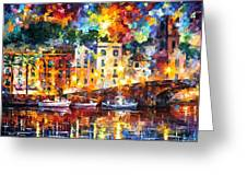 Few Boats - Palette Knife Oil Painting On Canvas By Leonid Afremov Greeting Card
