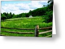 Field Near Weathered Barn Greeting Card