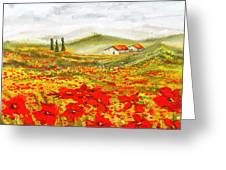 Field Of Dreams - Poppy Field Paintings Greeting Card