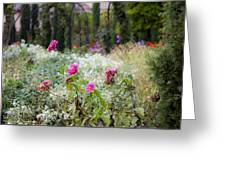 Field Of Flowers On A Rainy Day Greeting Card