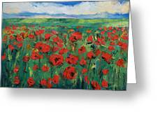 Field Of Red Poppies Greeting Card