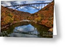 Fiery Colors At New River Gorge Bridge Greeting Card