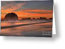 Fiery Ripples In The Surf Greeting Card