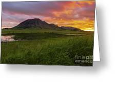 Fiery Sky Over Bear Butte Greeting Card