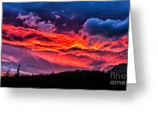 Fiery Sunrise At Glacier National Park Greeting Card