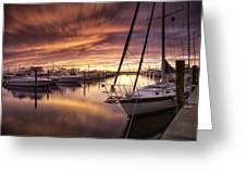 Fiery Sunset At Stuart Marina Greeting Card