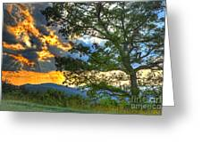 Fiery Sunset In The Blue Ridge I Greeting Card