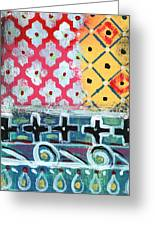 Fiesta 6- Colorful Pattern Painting Greeting Card by Linda Woods