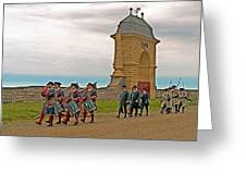 Fife And Drum Parade In Louisbourg Living History Museum-1744-ns Greeting Card