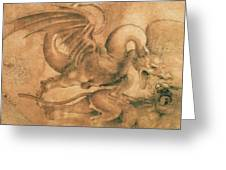 Fight Between A Dragon And A Lion Greeting Card