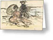 Figure Study Two Women Seated Greeting Card