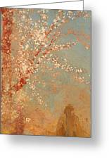 Figure Under A Blossoming Tree Greeting Card