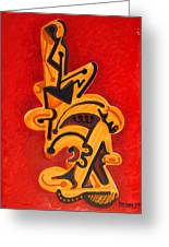 Figures In Red Greeting Card by Dayna Reed