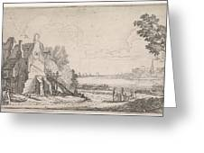 Figures On A Path Along A Dilapidated House On A River Greeting Card