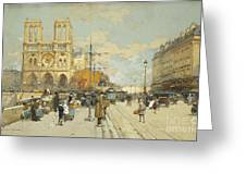 Figures On A Sunny Parisian Street Notre Dame At Left Greeting Card