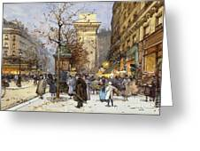 Figures On Le Boulevard St. Denis At Twilight Greeting Card
