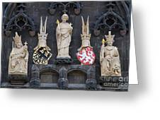 Figures On Staromestska Vez In Prague Greeting Card