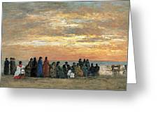 Figures On The Beach In Trouville Greeting Card