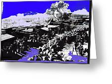 Film Homage Arizona 1940 Publicity Photo Cattle Drive Main Street Old Tucson 1940-2008 Color Added Greeting Card
