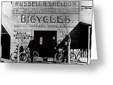 Film Homage Butch Cassidy 1969 Russell And Sheldon Bicycles C.1895 Tucson Arizona 2008 Greeting Card