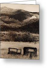 Film Homage End Of The Road 1970 Bisected Car Ghost Town Dos Cabezos Arizona 1967-2008 Greeting Card