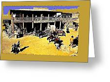 Film Homage Extras Unknown Production Old Tucson Arizona Color Added Greeting Card