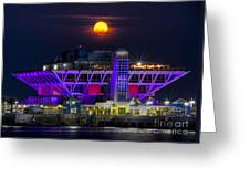 Final Moon Over The Pier Greeting Card