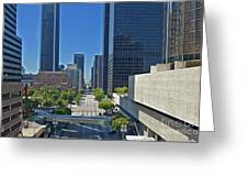 Financial District S. Flower Street Los Angeles Ca Greeting Card by David Zanzinger